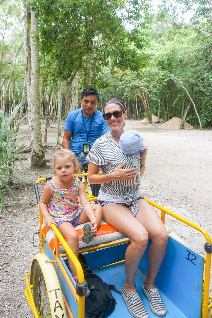Coba rickshaw ride with kids near Tulum