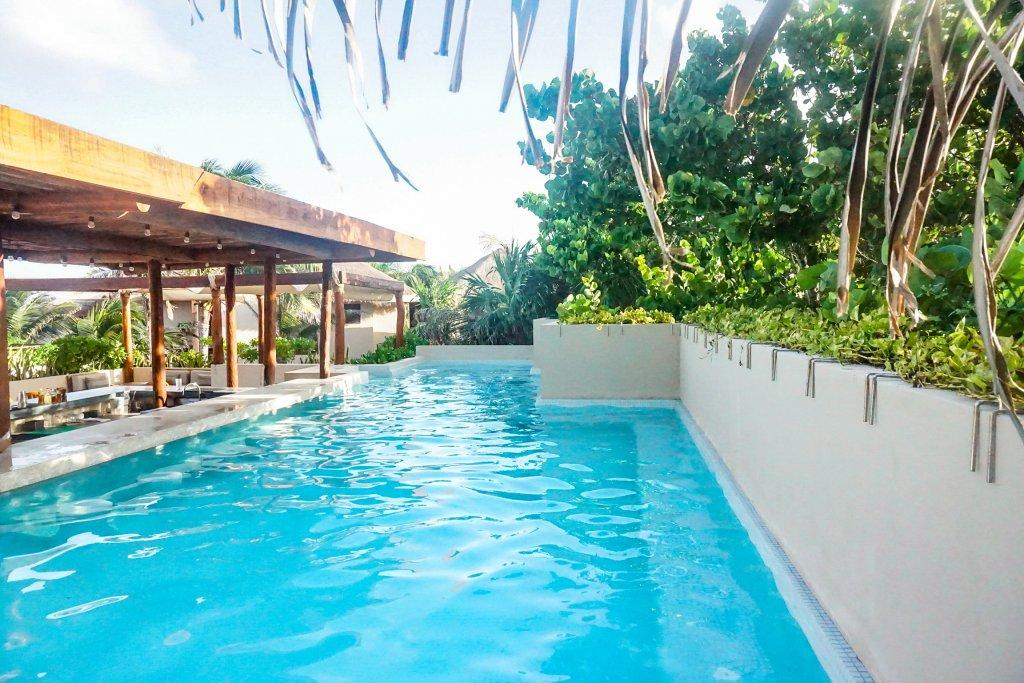 the pool at La Zebra hotel in Tulum beach