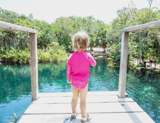 diving platform at Cenote Cristal Tulum with kids
