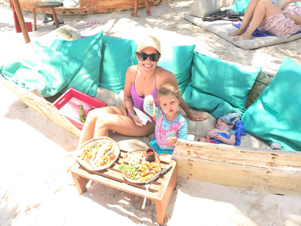 beachside lunch at La Zebra Tulum with kids