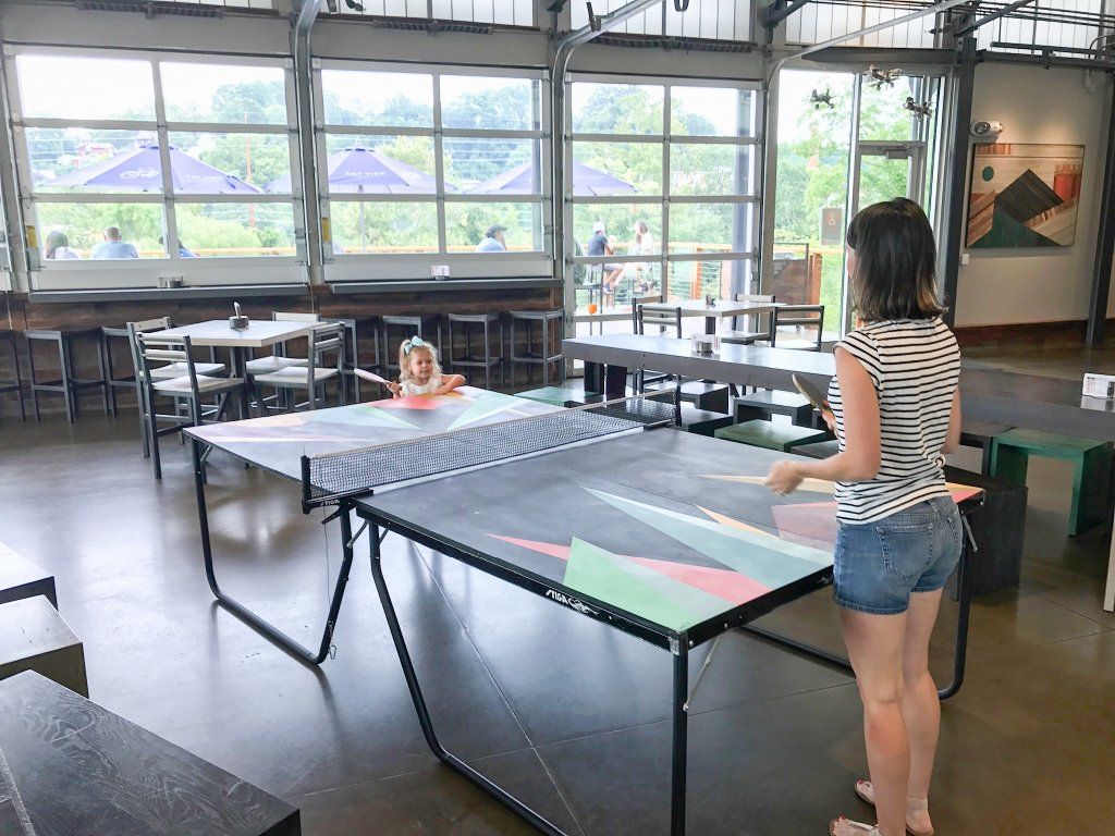 ping pong at New Belgium Brewery- Asheville with kids
