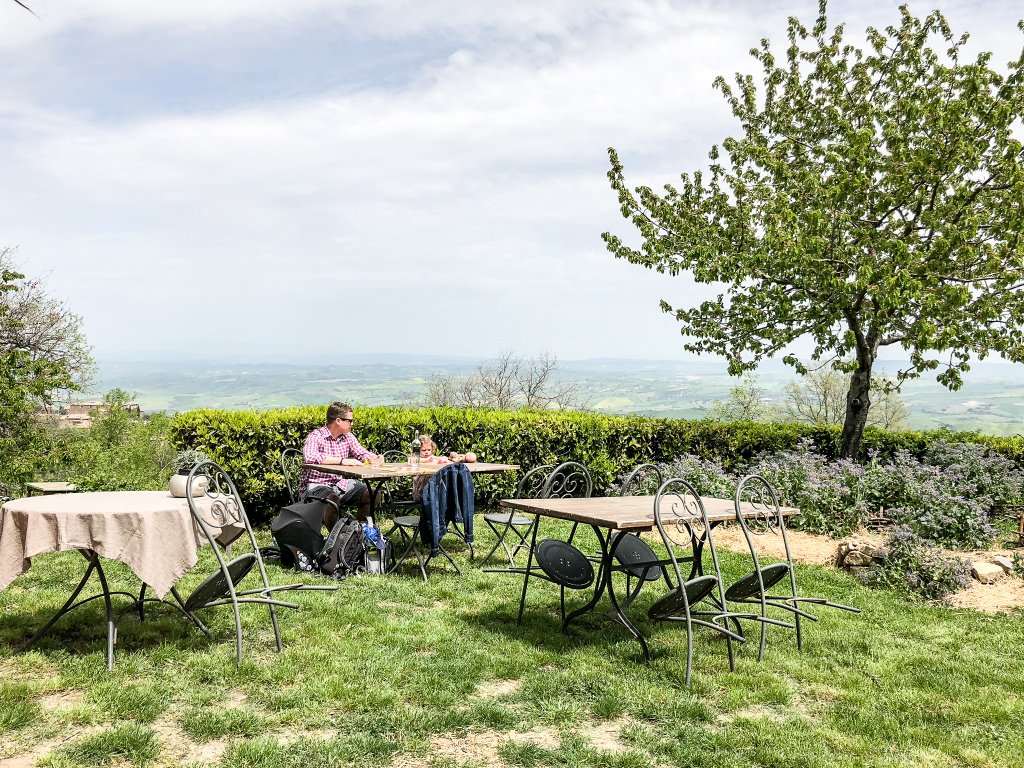 outdoor dining at Locanda Demetra Tuscany with kids