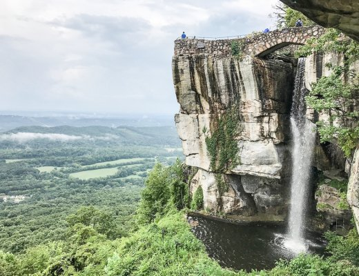 waterfall flowing over the side of Lookout Mountain in Chattanooga