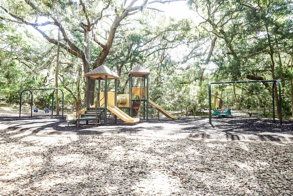 large shaded playground at Fort Clinch State Park on Amelia Island is perfect for kids