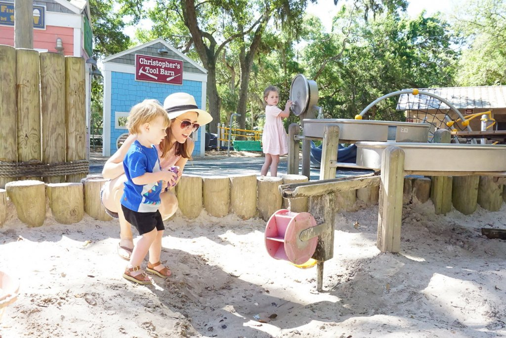 sand pit with water table at pirate playground is great to visit on Amelia Island with kids