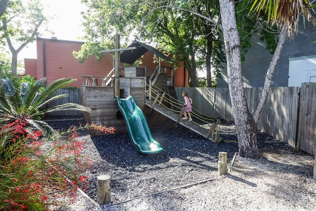 the boat themed playground at Timoti's seafood restaurant on Amelia Island