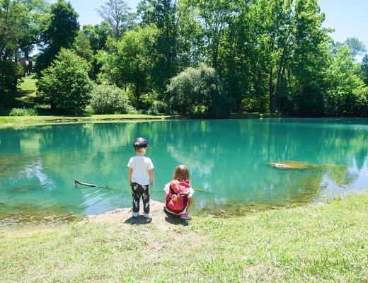 kids looking at the fishing pond at Barnsley Resort