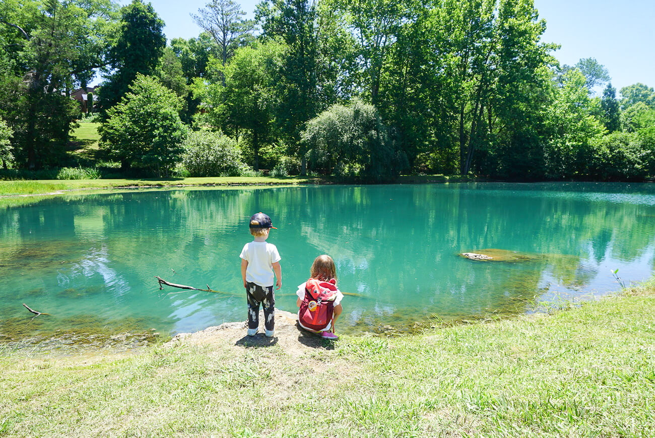 kids looking at the fishing pond at Barnsley Resort