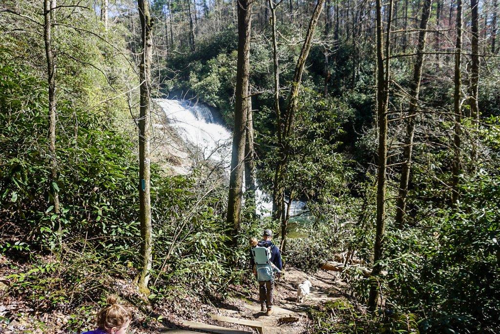 hiking toward Secret Falls near Highlands, NC with kids