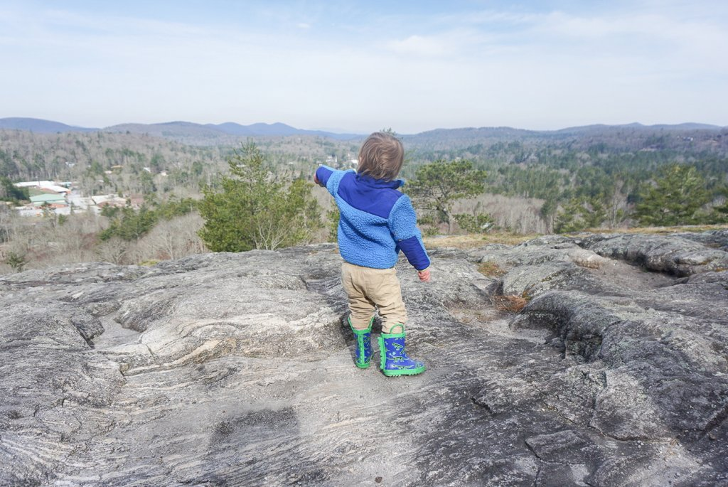 toddler at Sunset Rock overlook in Highlands, NC