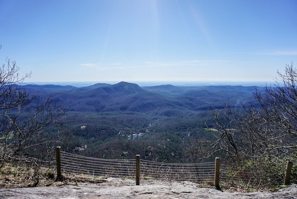 gorgeous views of the valley below from the Whiteside Mountain Trail near Highlands, NC