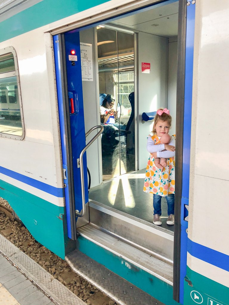 boarding the train in Rome