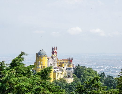 view of hilltop Pena Palace
