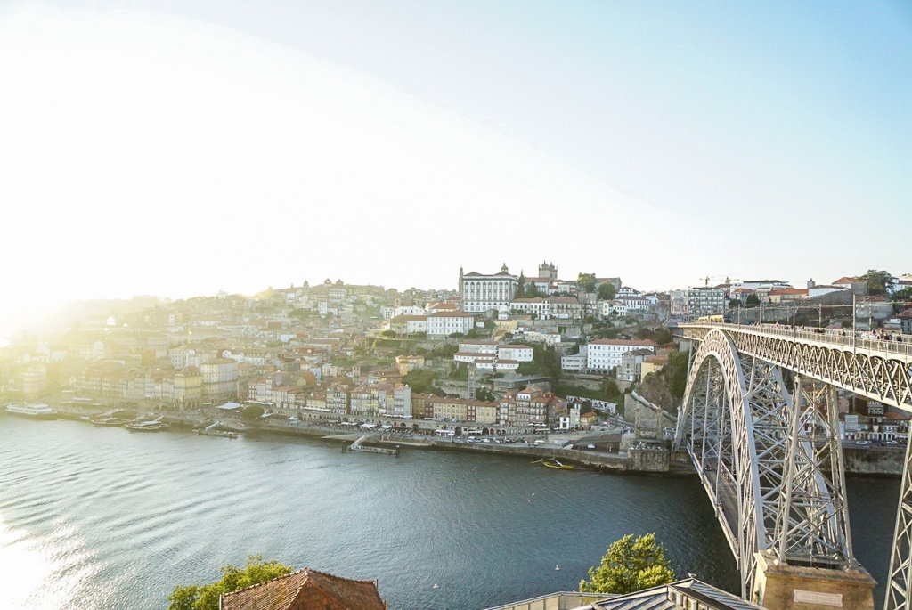 gorgeous sunset over Porto during 10 days in Portugal