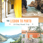collage of pictures from Lisbon to Porto road trip