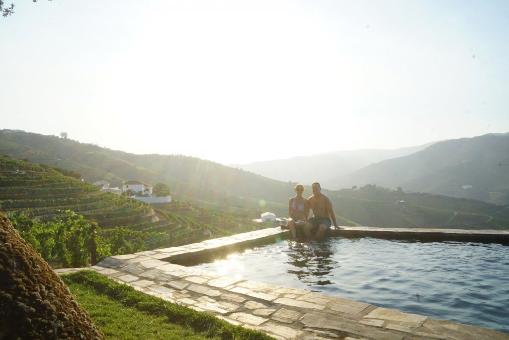 enjoying the afternoon at the pool in the Douro Valley- our favorite part of the road trip from Lisbon to Porto