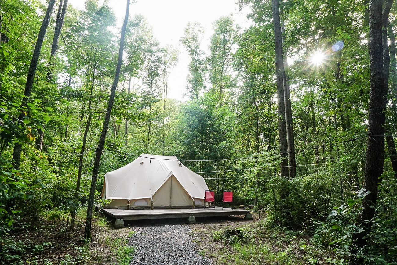 a yurt in the woods at Sassy Springs Retreat- perfect for a family weekend getaway from Nashville