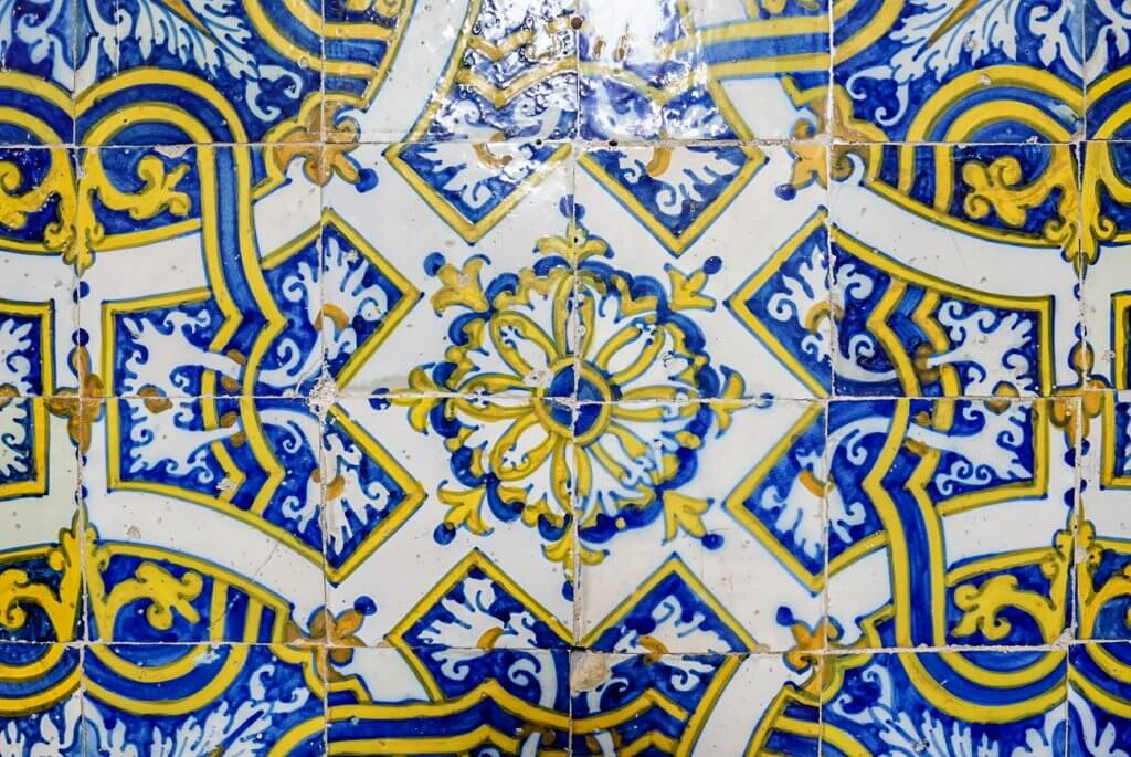 intricate hand painted tiles in Portugal