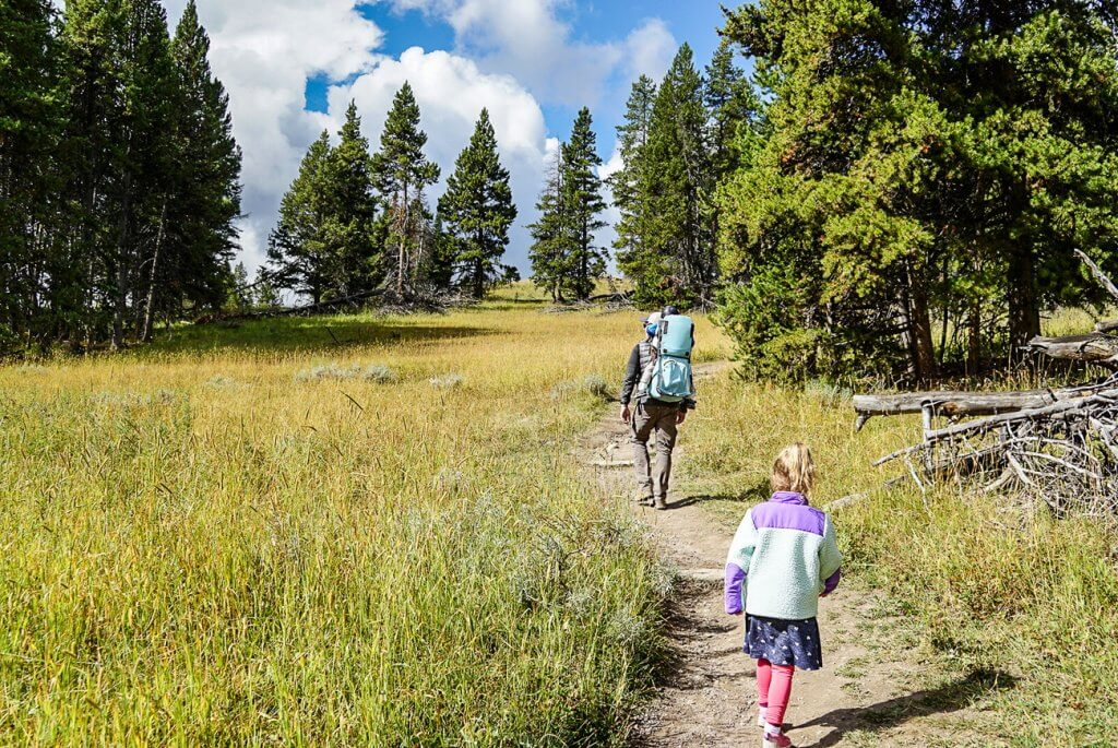 hiking the clear lake loop in yellowstone with small kids