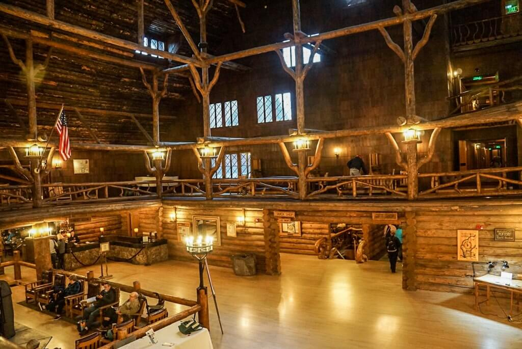 view of lobby of Old Faithful Inn