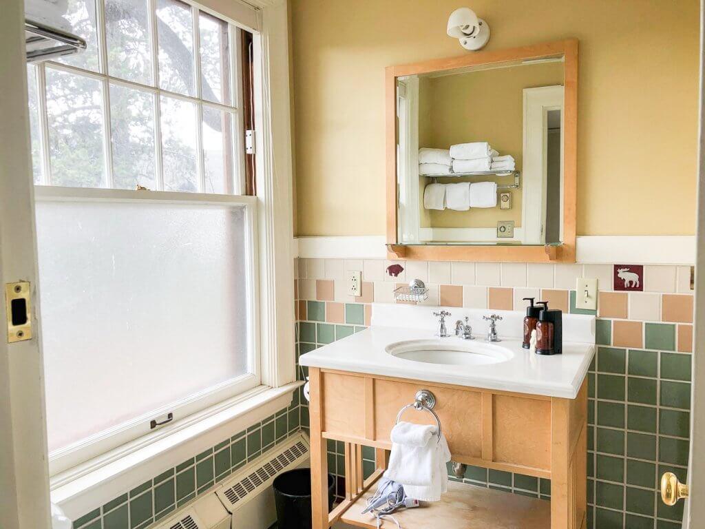 view of bathroom at Old Faithful Inn