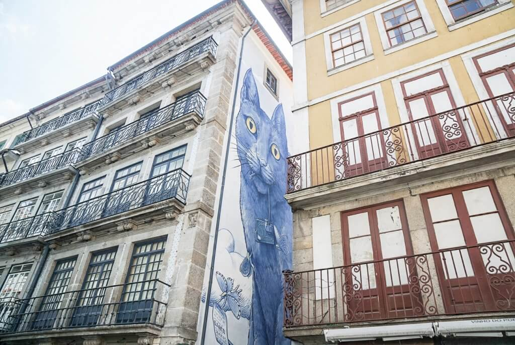 mural of a cat peering out between buildings in Porto