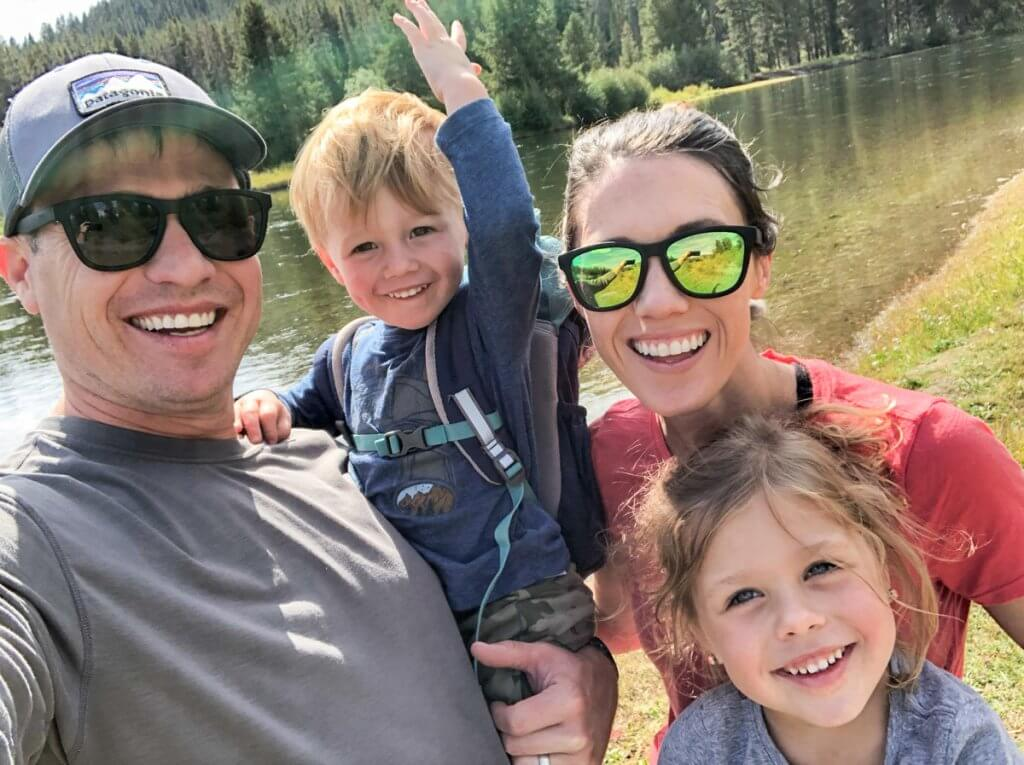 fun family pic at Oxbow Bend Grand Teton National Park