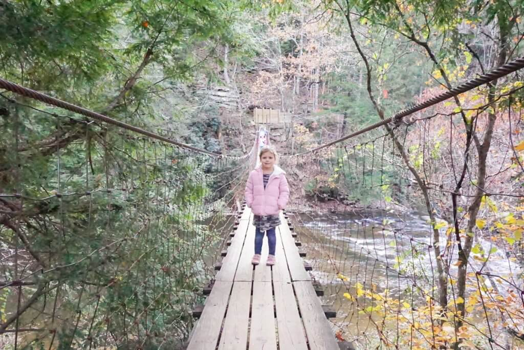 crossing the cane Creek Suspension bridge at Fall Creek Falls State Park